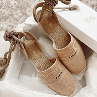 DIOR embroidered woven letter strap sandals fisherman shoes Khaki