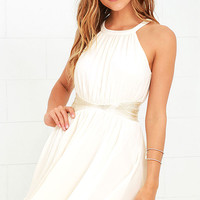 One More Night Cream Beaded Dress