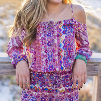Slice Of Life Off The Shoulder Aztec Grape Romper