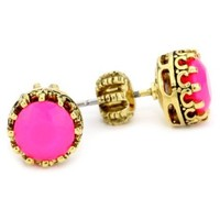 """Juicy Couture """"Palm Beach Poolside"""" Princess Ultra Fuchsia Stud Earrings - designer shoes, handbags, jewelry, watches, and fashion accessories 