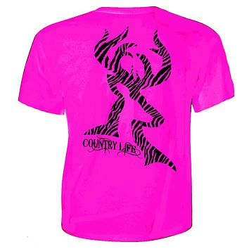 Country Life Outfitters Pink Zebra Deer Head Hunt Vintage Bright T Shirt