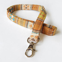 Woven Lanyard / Boho Keychain / Indian Blanket Inspired / Bohemian / Key Lanyard / Gold / Woven Stripe Fabric / ID Badge Holder / Tan