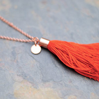 Tassel Necklace, Long Chain Necklace, Copper Jewelry, Bright Red Orange Necklace, Boho Tassel Necklace T003 by Indigo Lunch