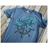 OCTOPUS mens T- SHIRT. Sailor tattoo print, handmade design. Silk screen on cotton tee for HIM. Color denim blue vintage style. mens tee