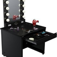 "Broadway Lighted Vanity Desk 36'' x 30"" - Black Frame, Black Surface"