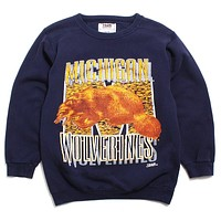 University of Michigan Golden Wolverine Team Edition Crewneck Sweatshirt Navy (Medium)