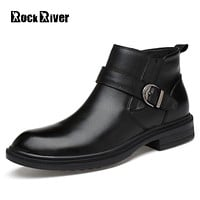 Rock River 2017 Men Boots Genuine Leather Slip-on Waterproof Warm Snow Winter Boots Ankle Black Pointed Toe Chelsea Boots Men