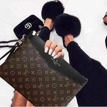 Louis Vuitton LV Fashion New Popular Monogram Leather Office Bag Zipper Women Men Wallet Purse Handbag Bag