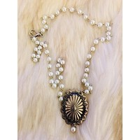 Hand Crafted Pearl Concho Necklace