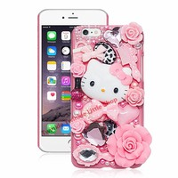 Cute Hello Kitty Crystal Pearl 3D Case For iPhone Back Cover Phone Cases For apple iphone for iphone7 plus/ 5/5s/5c/6s/6splus