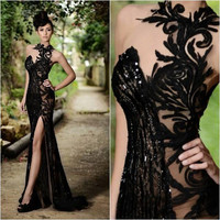 Long Lace Mermaid Beaded Prom Dresses Sexy Front Split Evening Party Gowns Custom Made
