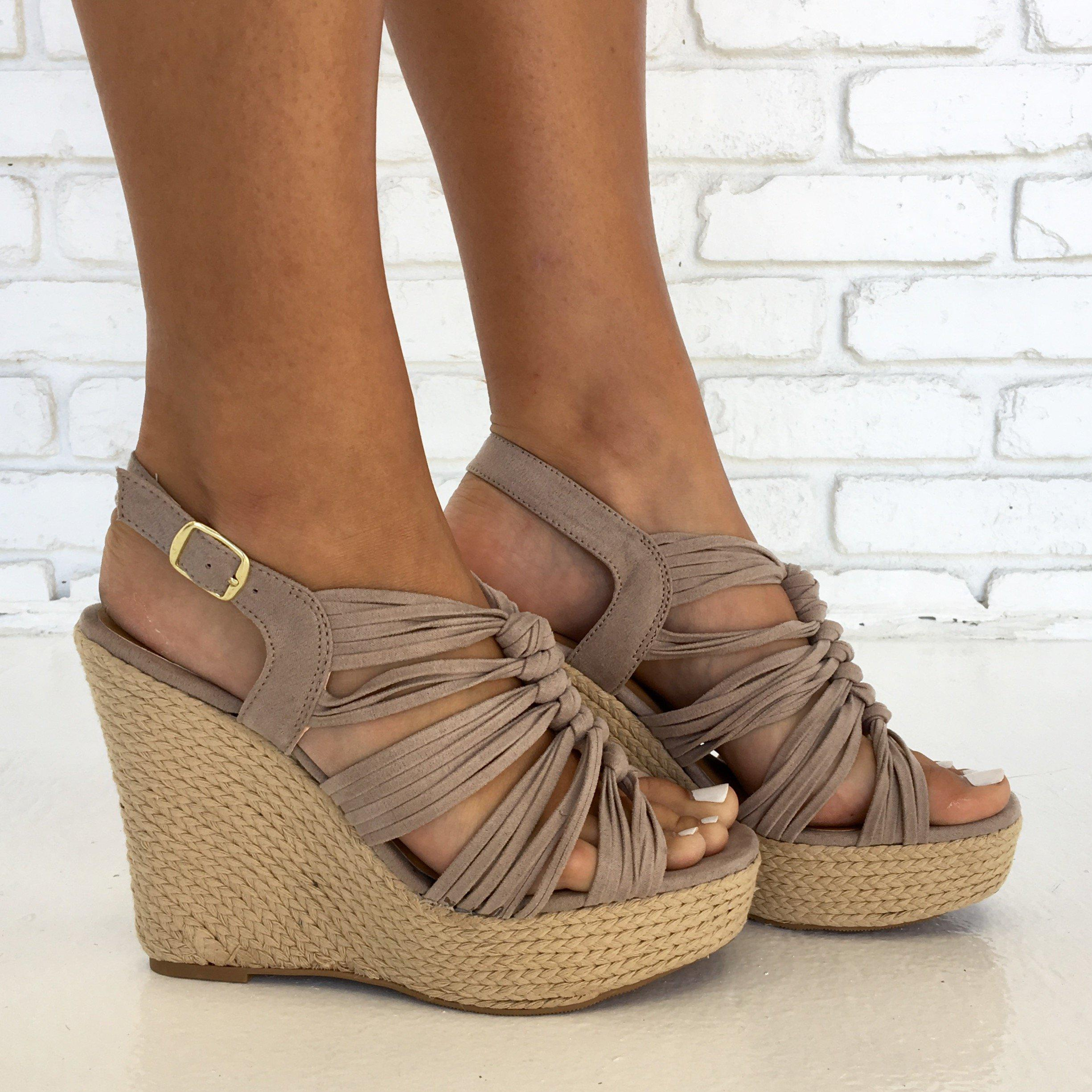 Image of Kelsey Espadrille Wedges in Taupe
