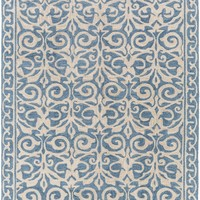 Samual Medallion and Damasks Area Rug Blue