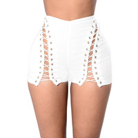 White Side Lace Up Shorts