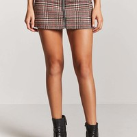 Woolen Glen Plaid Zip-Front Skirt