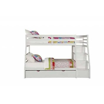 """95"""" X 56"""" X 65"""" Twin Over Full White Storage Ladder And Trundle Bunk Bed"""