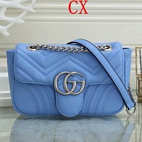 GUCCI Products Macaron Gold Buckle Girl Chain Messenger Bag Shoulder Bag Blue