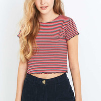 Urban Outfitters Pink Striped Lettuce Edge T-shirt - Urban Outfitters