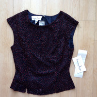 NEW Vintage Beaded Black & Red Tank Top by Laurence Kazar / size Petite Small / glitzy / party top