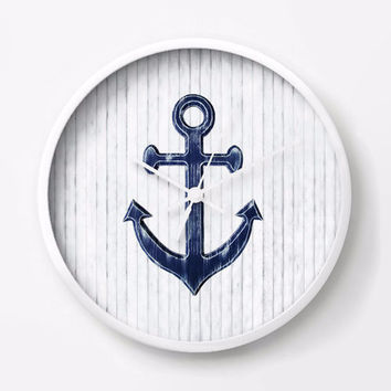 Nautical Wall Clock with navy blue anchor on rustic white wood