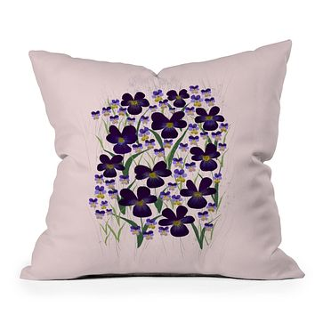 Joy Laforme Pansies in Purple and Yellow Throw Pillow
