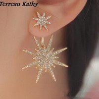Terreau Kathy Real Shooting 1psc Lot BK 2016 New Fashion Jewelry Gold Plate Exquisite Starlight Stud Earrings For Women