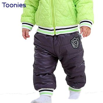 Winter Kids Trousers Thick Cotton Baby Girl Boy Pants Casual Cute Badge Child Leggings Rubber Belt Pant 2018 Warm Unisex Clothes