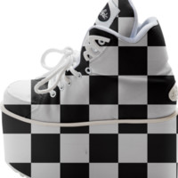 Black and White Checkered Buffalo Platform Shoes created by KCavender | Print All Over Me