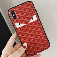 FENDI Tide brand personality iPhonex mobile phone case soft shell cover red