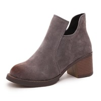 Ankle High Round Toe Square Heels Women's Winter Boots
