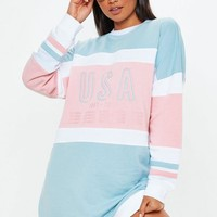 Missguided - Pink Pastel Long Sleeve USA Sweater Dress