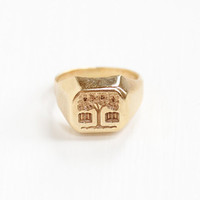 Vintage 10k Yellow Tree of Life Double Book Motif Signet Wax Seal Ring -  Size 3 1/2 Tree Retro 1960s Dated 1965 Fine Statement Jewelry