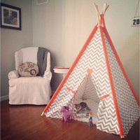 """Gray and Orange Chevron Tent 44"""" Size with accent sleeves or Pick your color Teepee play fort Made to Order Tents"""