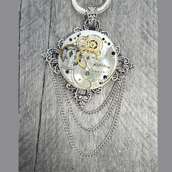 "The ""Grande Dame Fleur Hampden"" Clockpunk Steampunk Necklace, Antique Pocket Watch Movement  with Cross Fleury Pendant on Serpent Chain"
