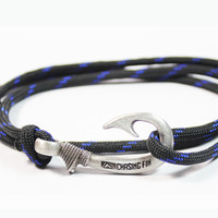 Thin Blue Line Fish Hook Bracelet (New)