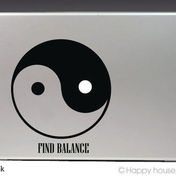 Macbook decal,YIN YANG, Apple decal, Macbook pro,Laptop decal,Stickers for pro/air/ipad,MacBook ipad decal,Taoism Symbol,Free shipping