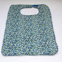 Adult Bib/Clothing Protector - Terry Cloth/Cotton - Blue -  Blueberry Print - Women