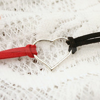 Red and black fashion heart bracelet vintage style heart by mosnos