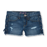Girls Destructed Lace-Up Denim Shorts | The Children's Place