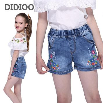 Kids Jeans Shorts For Girls Clothes High Waist Denim Pants For Girls Floral Trousers