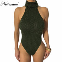 2016 Winter knitted sweater bodysuit for women Sexy Female Casual turtleneck One piece Slim Bodycon short Jumpsuits Overalls