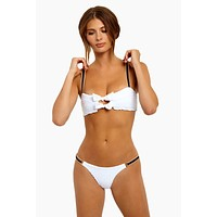 Cruise Bow Tie Bikini Top - White Seersucker