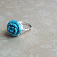 Large Turquoise Rose Glass Bead Wire Wrapped Statement Ring Custom Size