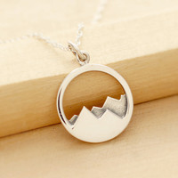 Mountain Range Necklace - Mountain Necklace - Mountain Jewelry - Sterling Silver Mountain - Outdoors - Hiking - Skiing - Camping - Nature
