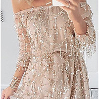 Party Dress Sexy Off Shoulder Sequin Tassel Party Dress