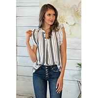 Lasting Impression Striped Top : White/Black