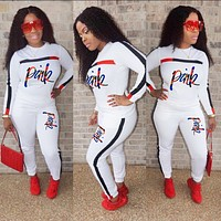 Victoria's Secret Pink Popular Women Casual Print Long Sleeve Top Pants Sweatpants Two-Piece Set White