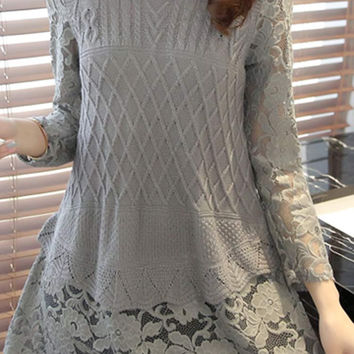 Cupshe Chic Grey Lace Splicing Top