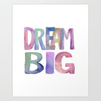 """Inspirational Quote """"DREAM BIG"""" Watercolor Letters Typography Nursery Print Motivational Quote Art Art Print by PrintableLifeStyle"""