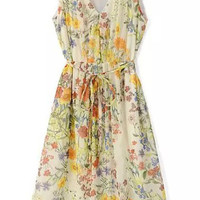 Fashionable V-neck Sleeveless Floral Printed Belt Chiffon Midi Dress